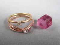 リフォームに使用したダイヤのリングとルースのトルマリン結晶