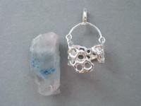 固定前のパパゴ水晶とシルバーパーツ